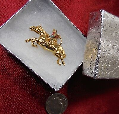 Collectible 14K Gold JOCKEY Horse Ride Race POLO Pendant Vintage 3D Charm Signed