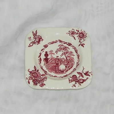 Mason's Watteau Ashtray Pink Red Transferware People Floral Ironstone Vintage