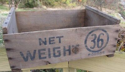 "Old Vtg Wood Wooden Box 17 1/2""x14""x7"" ( Net Weight 36 Pounds )"