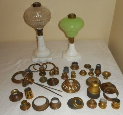 Box Lot of 2 Sandwich Oil Lamp & Connector Ring Figural Light Stem Parts Restore