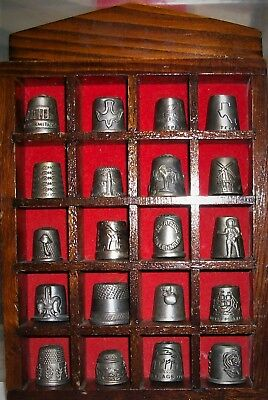 Lot Of 20 Pewter Souvenir & Novelty Thimbles With Wooden Shelf