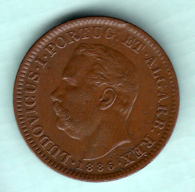 Portuguese Colonial India 1886 Extremely RARE 1/4 Tanga Copper Coin Luiz I J6