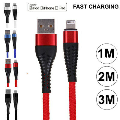 Heavy Duty Metal Braided Nylon USB Cable Charger Lead for iPhone 7 8 X iPad Air
