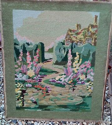 Large Retro Vintage Tapestry ? 40s 50s English Country House & Flower Gardens