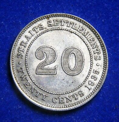 Straits Settlements Malaya 20 Cents 1935 Round 3, Silver Coin - AUNC