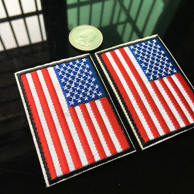d85ebde7461 2X USA American Flag Embroidered Patch Iron on Applique Sewing Star And  Stripes