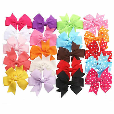 20pcs Kids Baby Girls Children Toddler Flowers Bow Hair Clips with 5 Polka-dot
