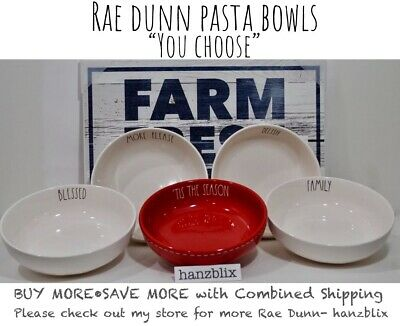 "Rae Dunn Pasta Bowls HANGRY SOUP SECONDS PLEASE GOBBLE EAT ""YOU CHOOSE"" NEW'1819"