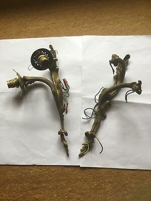 pair of old ornate metal wall lights, gilt Effect, double bulb holders