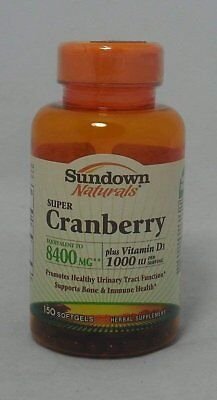 Sundown Naturals Super Cranberry 8400 mg Plus Vitamin D3 1000 IU, 150...