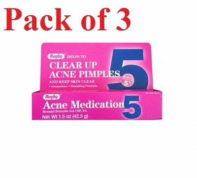 Rugby Acne Medication Benzoyl Peroxide Gel 5% 1.5 Ounce (Pack of 3)