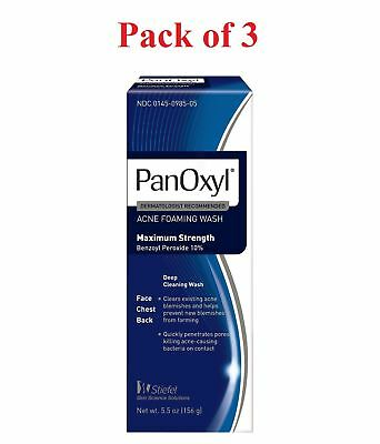 PanOxyl Acne Foaming Wash Max Strength 10% Benzoyl Peroxide 5.5 oz (Pack of 3)