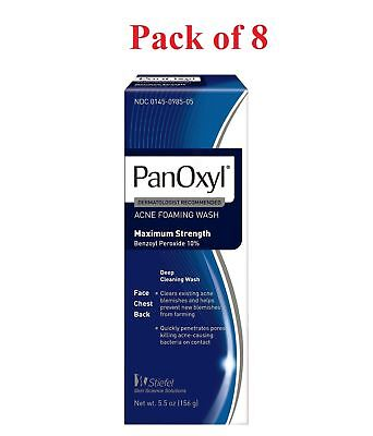 PanOxyl Acne Foaming Wash Max Strength 10% Benzoyl Peroxide 5.5 oz (Pack of 8)