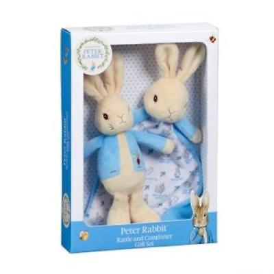 NEW Peter Rabbit Plush Baby Rattle & Comforter Gift Set