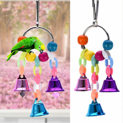 Novel Bird Parrot Toy Hanging Swing Cage Rope Pet Chew Bell Feeder Budgie Game