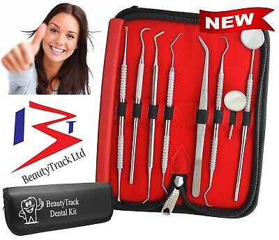 Pro DENTAL 8 PIECE SCALERS Dentist Probe Pick SET + Mouth Mirror STEEL Tool KIT