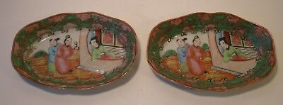 """4.75"""" Pair Of Chinese 19th Century Famille Rose Oval Dishes"""