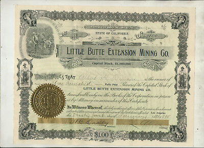 1898 Little Butte Extension Mining Company California Stock Certificate