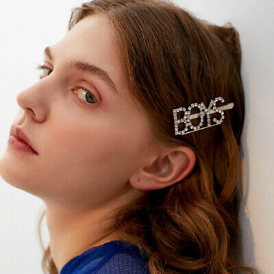 Fashion Ladies Rhinestone Hair Clip Pin Crystal Letters Hairpins Slide Barrettes