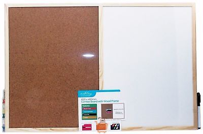 600 x 400 mm Wooden Framed Cork Message Notice Pin Memo Board White Wipe Combo