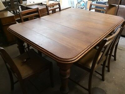 antique oak extending dining table and 6 chairs