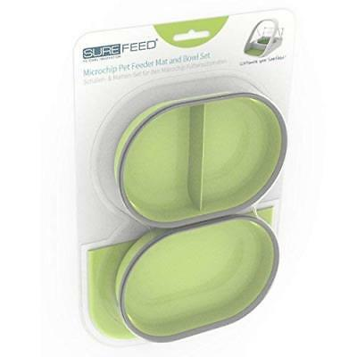 SureFeed Microchip Pet Feeder Mat and Bowl Set, Green