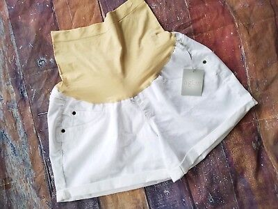 NEW NWT a:Glow Size 10 Belly Panel Maternity Shorts Cuffed White