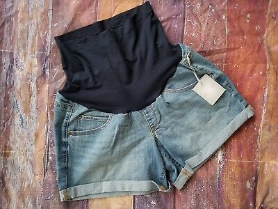 NEW NWT a:Glow Size 12 Belly Panel Maternity Shorts denim Jean Cuffed Summer