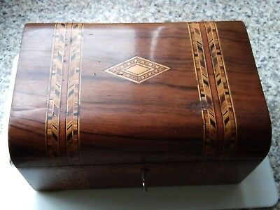 Victorian antique walnut Inlaid sewing and jewellery box