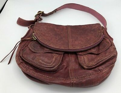LUCKY BRAND Soft Brown Distressed Italian Leather Shoulder Bag, Adjustable Strap