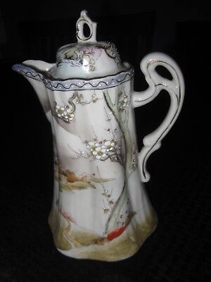 NR Antique Nippon Torri Hand Painted Porcelain Chocolate Pot tea Oriental