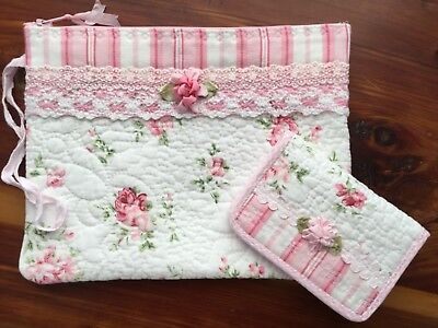 Quilted Faded Pink Rose zip Pouch and matching Card Pouch Perfect for gifts!