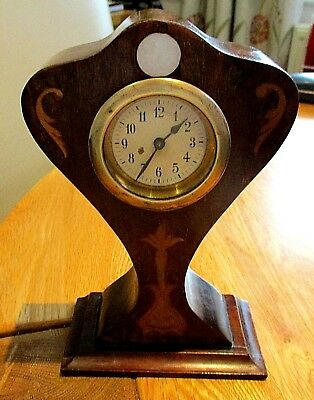 Edwardian Mahogany Balloon Mantel Clock Satinwood Inlay,mo.p.good Working Order.