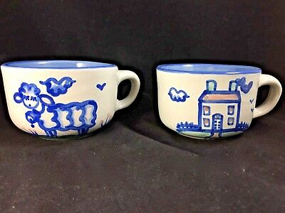 Set of 2 M.A. Hadley Signed 6 oz Mugs Cups  House Sheep Lamb THE END Pottery