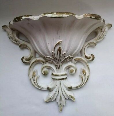 Vintage Wall Planter Syroco Homco 4446 1962 Cream w/ Gold Accents Home Interiors