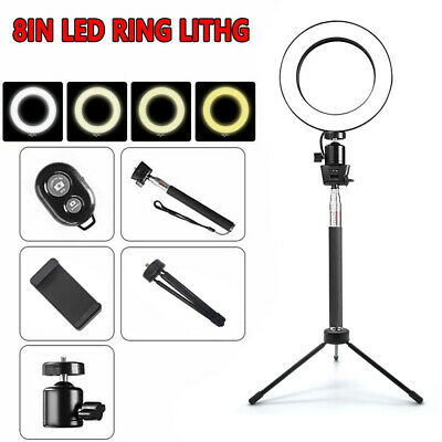 "8"" LED Studio Ring Light Photo Video Dimmable Lamp Light Kit For Camera & Phone"