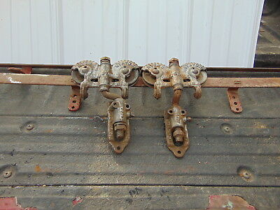 Pair Vtg Myers Stayon Double Adjustable Barn Door Trolley Pulleys W/10Ft.track