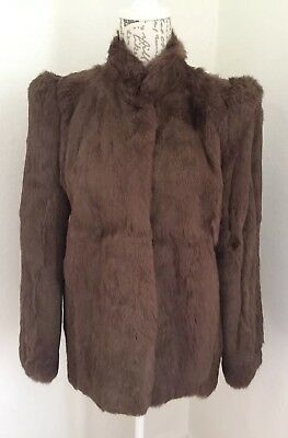 Vintage 80s Taube Collection Brown French Rabbit Fur Coat Jacket Size UK 10