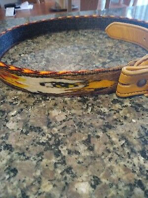 Hitched Horsehair Belt. Harley Davidson logo, with American Eagles. Hand tooled.