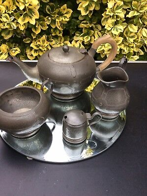 Pewter 4 Piece Tea Set Vintage