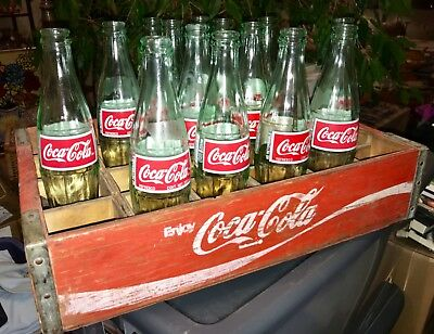 Vintage 1960's Coca Cola Coke Wood Case Carrying Crate Soda Pop Bottle Wooden