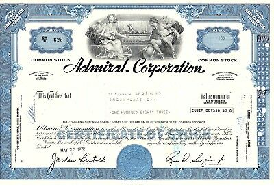 Admiral Corporation / Lehman Brothers Incorporated