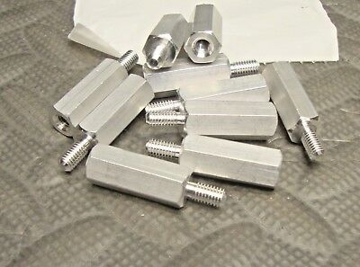 "10 Pk NEW 3/8"" Hex Standoff 10-32 x 1 Inch Long Aluminum Male Female"