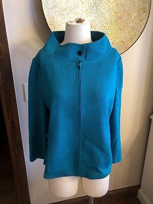 ST JOHN COLLECTION Turquoise Teal Knit Zipper Loose Jacket Size 12 USA