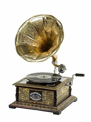 Antique style gramophone complete with a horn - decorative wooden base