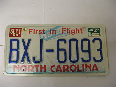 1988 88 North Carolina NC License Plate Airplane BXJ-6093 Natural Sticker