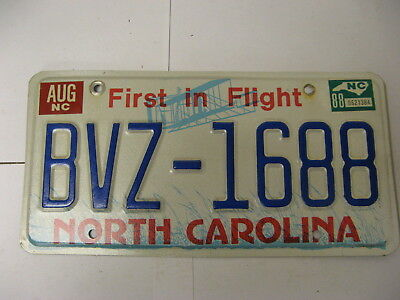 1988 88 North Carolina NC License Plate BVZ-1688 Airplane Natural Sticker