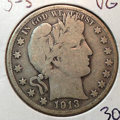 1913-S   VG  Barber Half Dollar    LY and part IT Bit of R