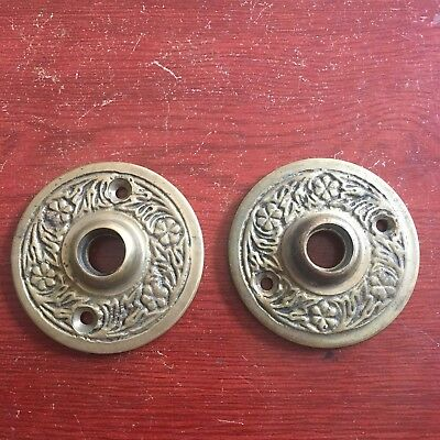 Victorian Pair Of  Large Solid Cast Bronze DoorKnob  Decorated Rosettes
