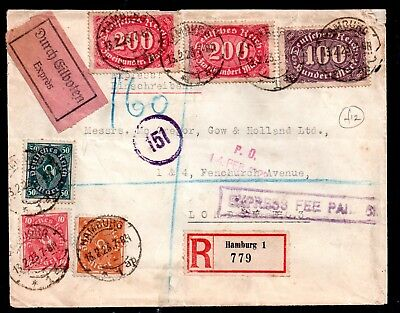 Germany 1923 Inflation Registered Express Fee Paid cover to London WS11043